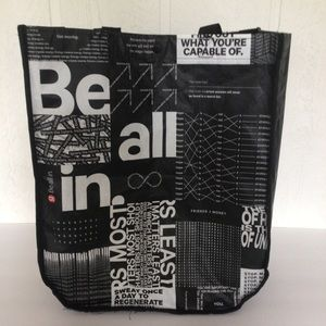 LULULEMON BLACK AND WHITE LARGE REUSABLE TOTE